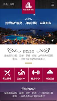 预览酒店网站模板的手机端-模板编号:1806