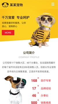 预览宠物网站模板的手机端-模板编号:326
